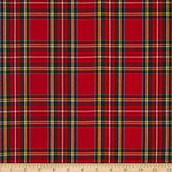 Kaufman House of Wales Lawn Plaid Red Fabric