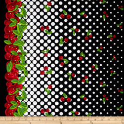 Kanvas Cherries Jubilee Cherry Galore Black Fabric