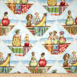 Fruit Ladies Diamond Patchwork Blue Fabric