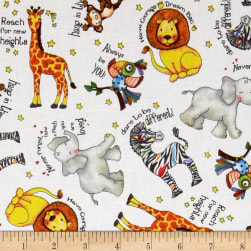 Think Positive Animals & Words White Fabric