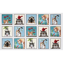 Curious Cats 24 In. Panel Squares Cream Fabric