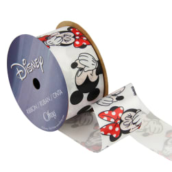1 1/2'' Minnie Mouse Ribbon With Mickey White