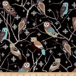 Kanvas Shades of Winter Snowy Owls Black Fabric