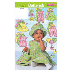 Butterick Infants' Dress, Jumper, Romper, Jumpsuit, Panties, Hat and Bag Pattern B5624 Size LRG