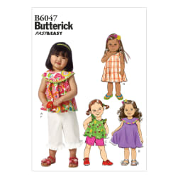 Butterick Toddlers' Top, Dress, Shorts and Pants Pattern B6047 Size CCB