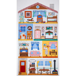 Kaufman Penny's Dollhouse Rooms 24 In. Panel Vintage Fabric