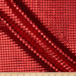 Sequin Check Mesh Red Fabric