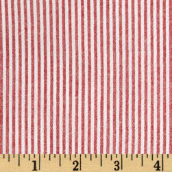 Cotton Seersucker Stripe Red/White