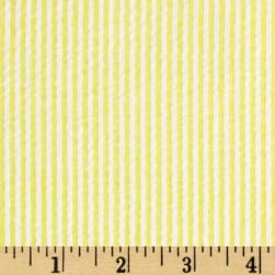 Cotton Seersucker Stripe Yellow/White Fabric