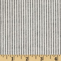 Cotton Seersucker Stripe Black/White Fabric