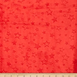 Shannon Minky Embossed Star Cuddle Scarlet
