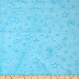 Shannon Minky Embossed Star Cuddle Turquoise Fabric