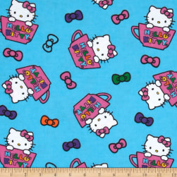 Hello Kitty Teacup Toss Flannel Blue Fabric