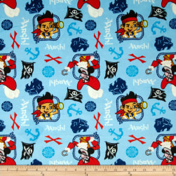 Disney Minky Jake Treasure Quest Blue Fabric
