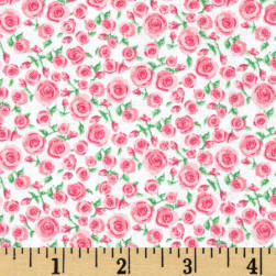 Small Rosette Bright Pink Fabric