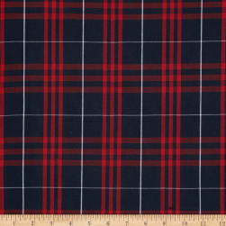 Poly/Cotton Uniform Plaid Navy/Red/White Poplin Fabric