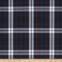 Poly/Cotton Uniform Plaid Red/Green/White Poplin Fabric