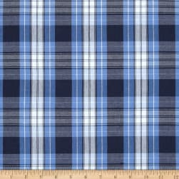 Poly/Cotton Uniform Plaid Blue/Navy/White Poplin Fabric