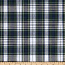 Poly/Cotton Uniform Plaid Blue/Green/White/Yellow Poplin Fabric