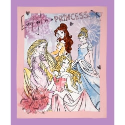 Disney's Princess Watercolor Every Girl is a Princess Panel Purple Fabric