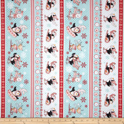 Peppermint Penguin Skiing & Sledding Stripe Red Fabric