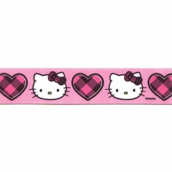 "7/8"" Hello Kitty Buffalo Heart Ribbon Pink"