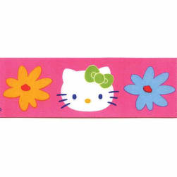 1 1/2'' Hello Kitty Floral Ribbon Pink