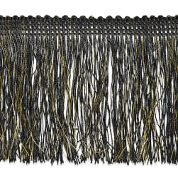 "4"" Tamra Chainette Metallic Fringe Black/Gold"