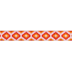 "7/8"" Tula Pink Blush Lantern Orange Ribbon Light Pink"
