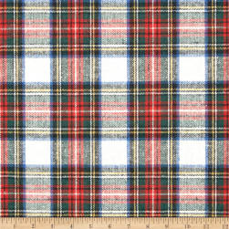 Washable Wool Plaid Cream/Red/Blue Fabric