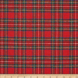 Washable Wool Plaid Red/Blue/Green Fabric