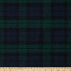 Washable Melton Wool Plaid Blue/Green Fabric