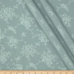 Polyester Embossed Floral Shirting Slate Green Fabric