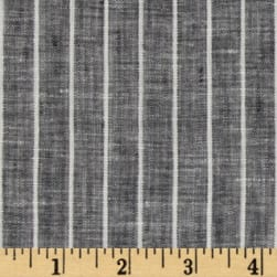 Telio Tuscany Pinstripe Chambray Linen Light Black/Cream Fabric