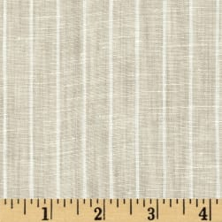 Telio Tuscany Pinstripe Chambray Linen Light Tan/Cream Fabric