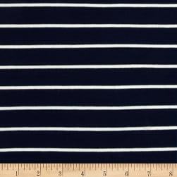 Telio Stretch Bamboo Rayon Mariner Jersey Knit Stripe Navy/Off White