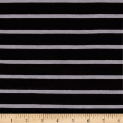 Riley Blake Stretch Jersey Knit Stripe 1/4'' Black/Gray Fabric