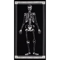 Timeless Treasures Glow in the Dark 24 In. Skeleton Panel Black