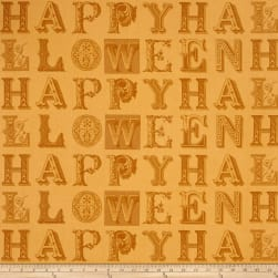 Sew Scary Happy Halloween Letters Orange Fabric