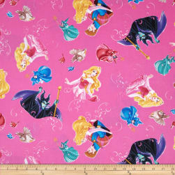 Disney Sleeping Beauty with Film Toss Fuchsia Fabric