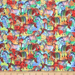 Tribal Instincts Zebra Green Fabric