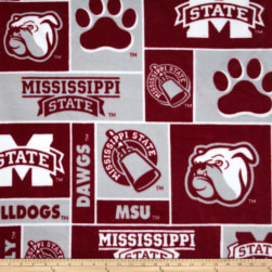 Collegiate Fleece Mississippi State Bulldogs Burgundy/Gray Fabric