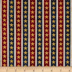 Stonehenge Land of the Free Stars Navy/Red/Gold/Beige Fabric