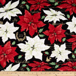 Christmas Joy Large Floral Black