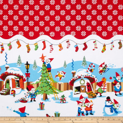 Michael Miller Holiday Holly Jolly Gnomes Red Fabric