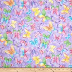 Butterflies Glitter Purple Fabric