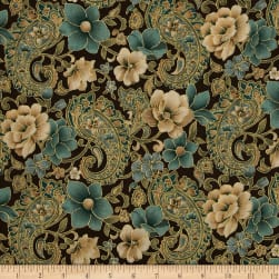 Marrakech Metallic Paisley Floral Brown Fabric