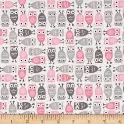 Kaufman Urban Zoologie Mini Owls Pink Fabric
