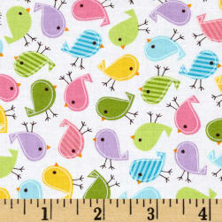 Kaufman Urban Zoologie Mini Birds Spring Fabric