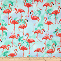 Kaufman Flamingo Paradise Flamingos Water Fabric
